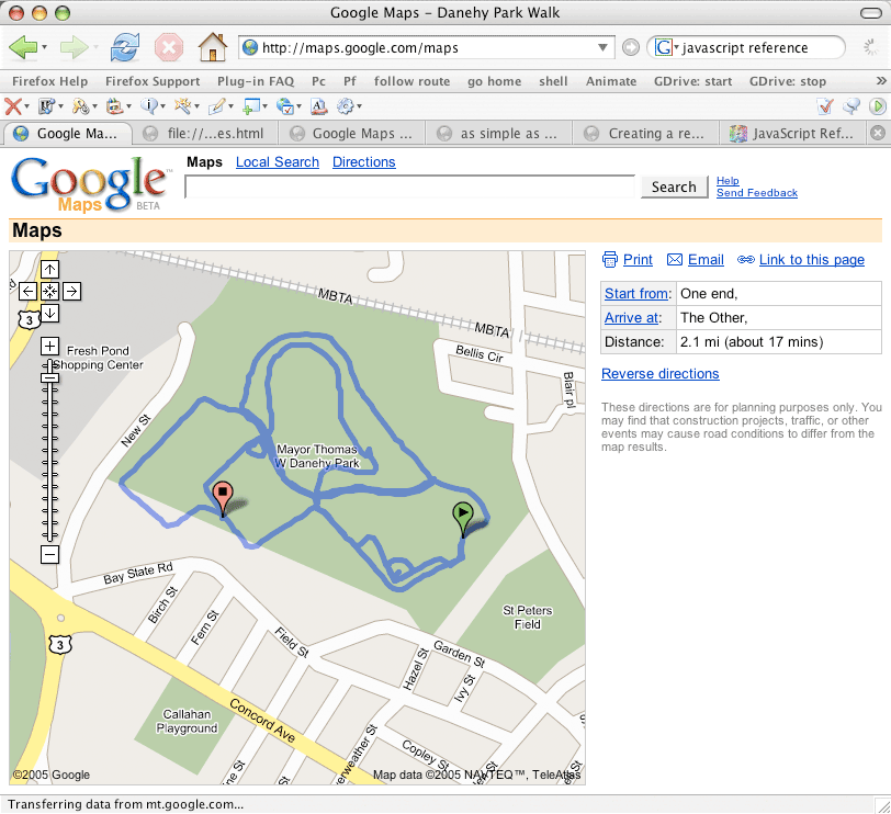 Google Mapping - Map my walk online